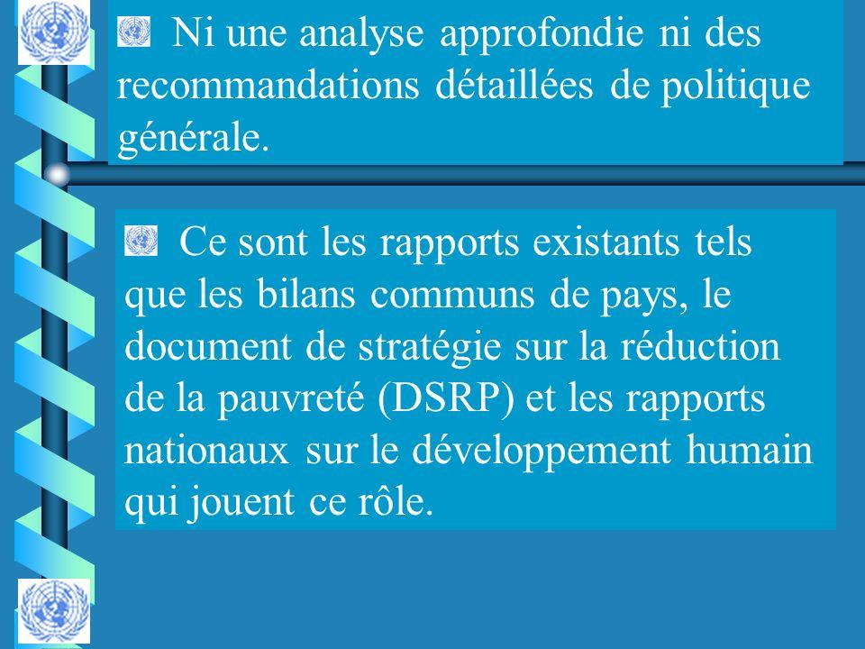 Ni une analyse approfondie ni des recommandations détaillées de politique générale.