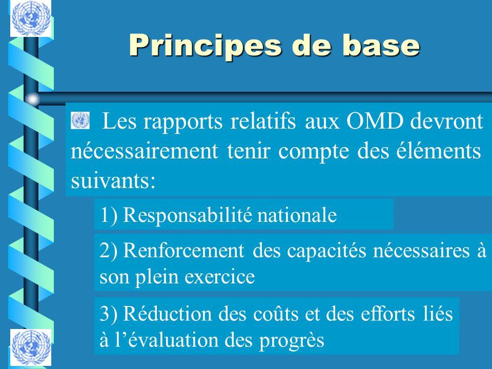 Principes de base Les rapports relatifs aux OMD devront nécessairement tenir compte des éléments suivants: