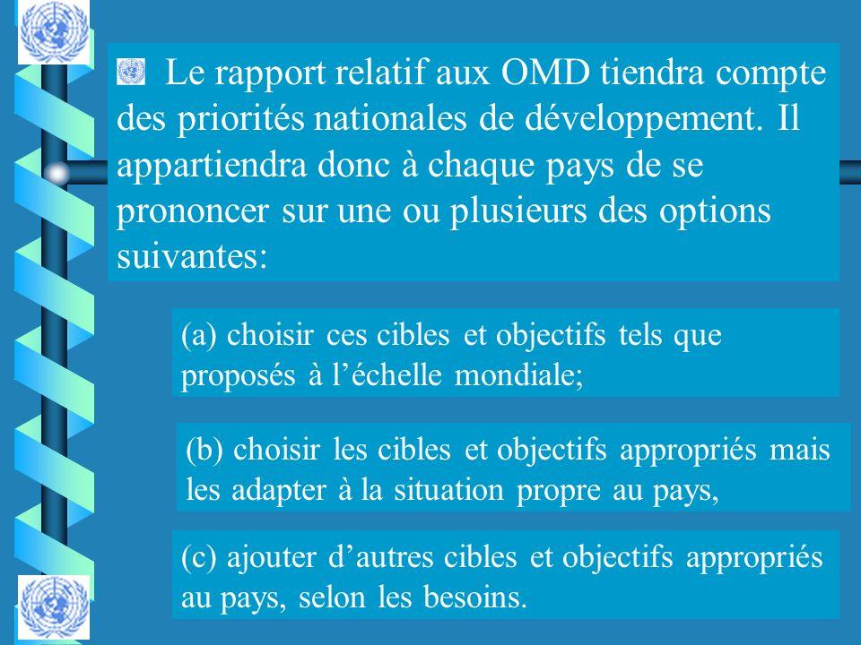 Le rapport relatif aux OMD tiendra compte des priorités nationales de développement. Il appartiendra donc à chaque pays de se prononcer sur une ou plusieurs des options suivantes:
