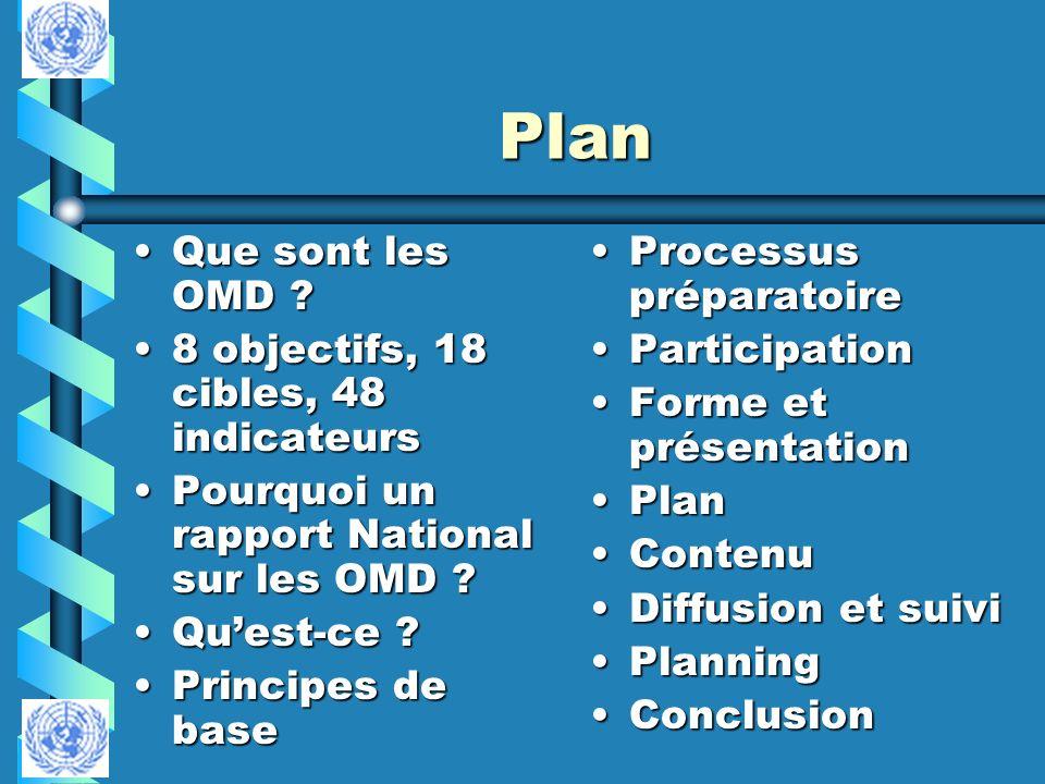 Plan Que sont les OMD 8 objectifs, 18 cibles, 48 indicateurs