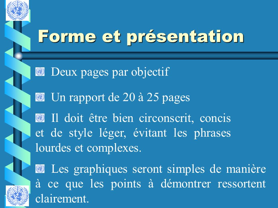 Forme et présentation Deux pages par objectif