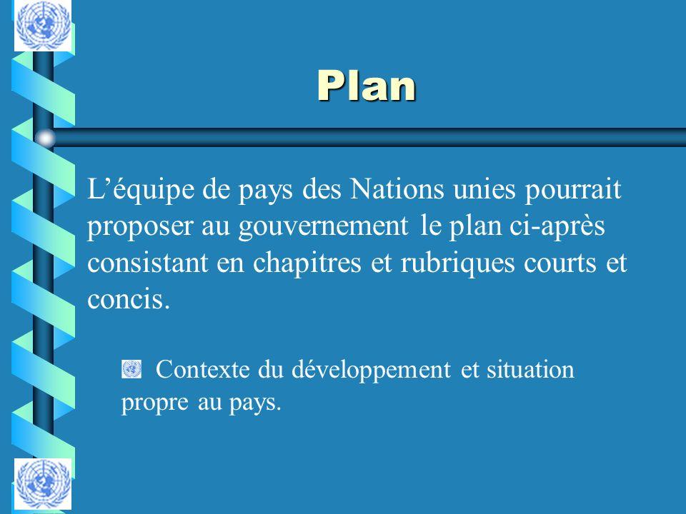 Plan L'équipe de pays des Nations unies pourrait proposer au gouvernement le plan ci-après consistant en chapitres et rubriques courts et concis.