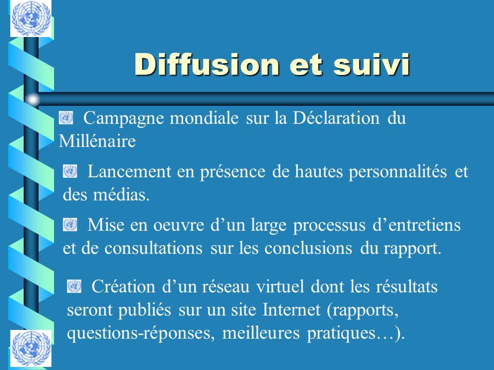 Diffusion et suivi Campagne mondiale sur la Déclaration du Millénaire