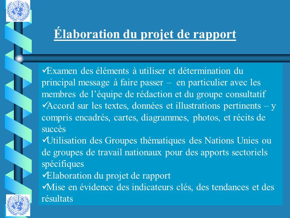 Élaboration du projet de rapport
