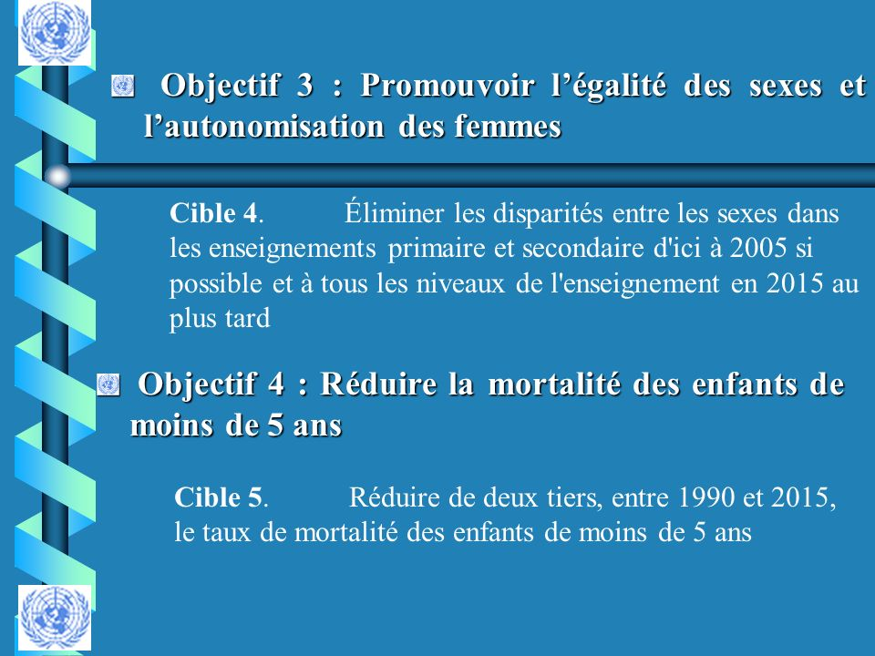 Objectif 4 : Réduire la mortalité des enfants de moins de 5 ans