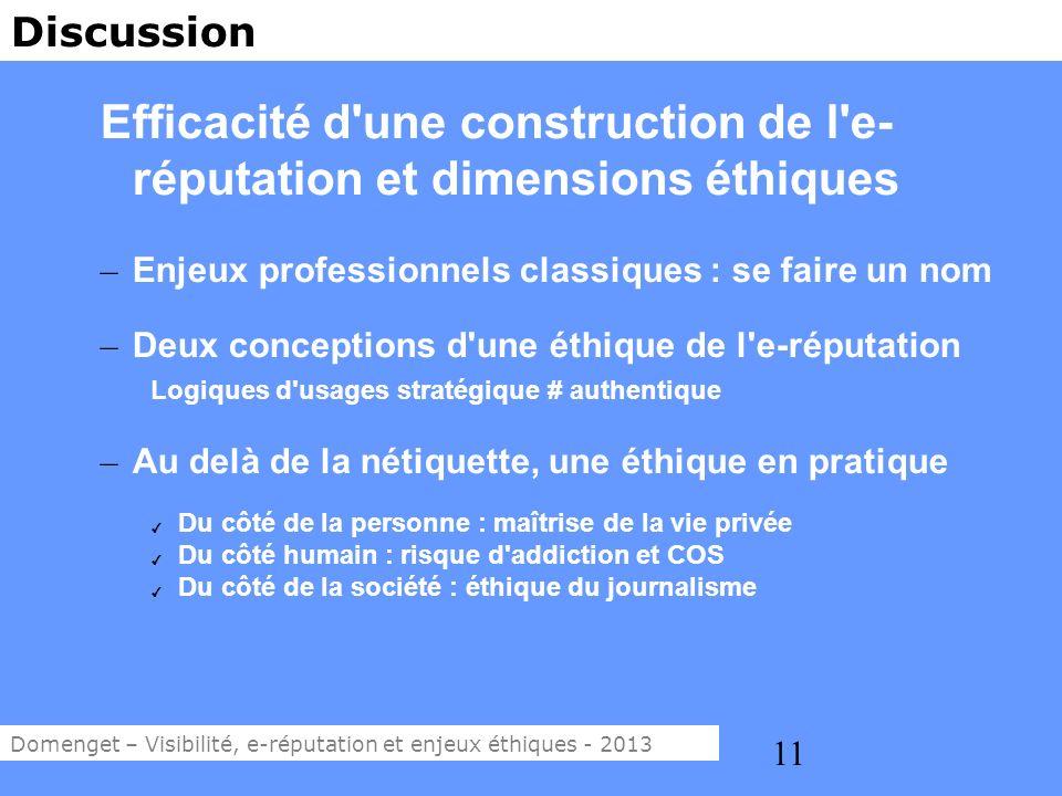 Efficacité d une construction de l e-réputation et dimensions éthiques