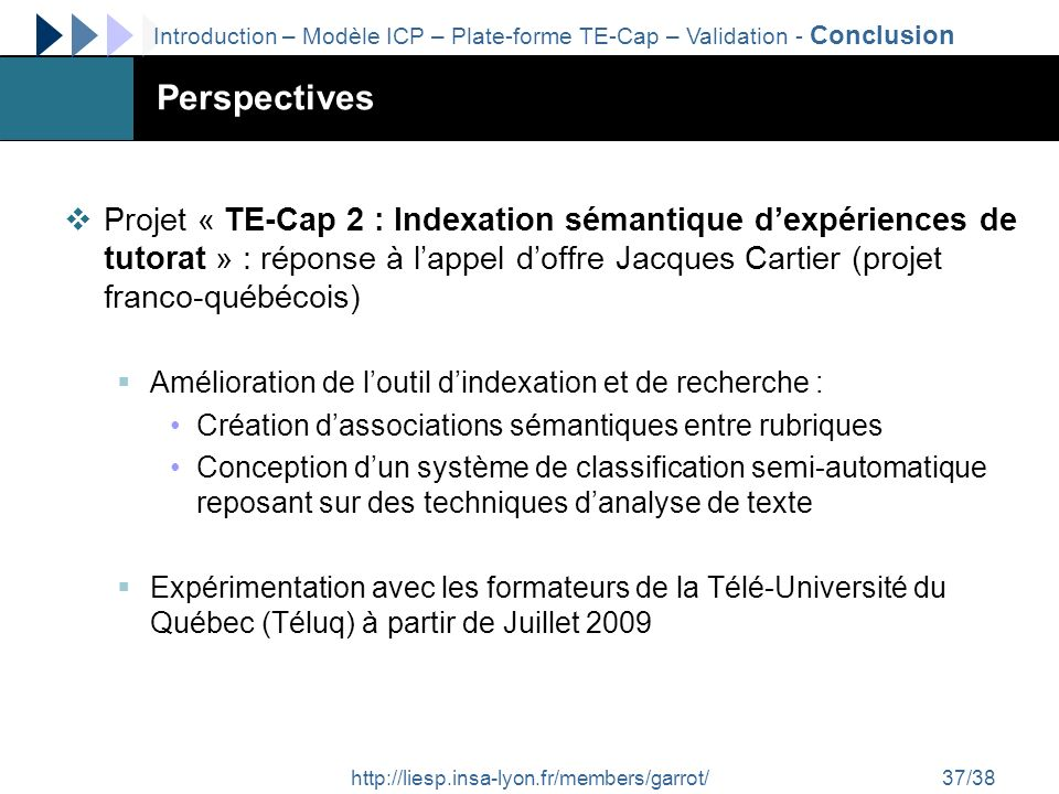 Introduction – Modèle ICP – Plate-forme TE-Cap – Validation - Conclusion