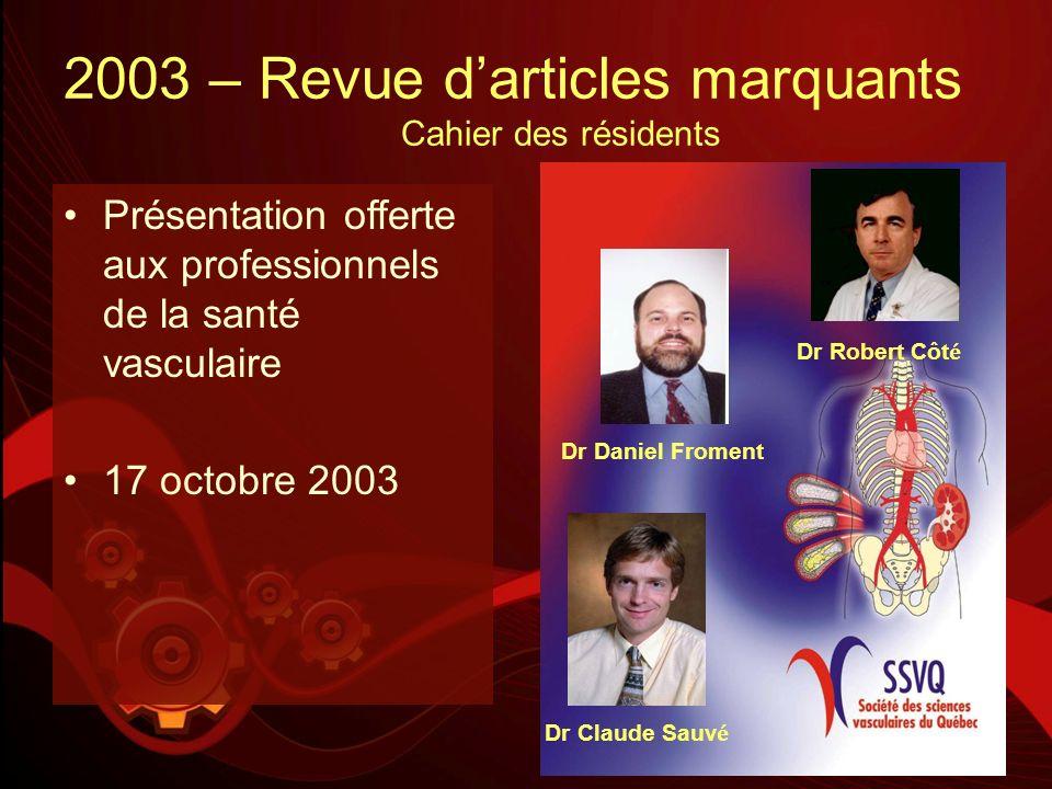 2003 – Revue d'articles marquants Cahier des résidents