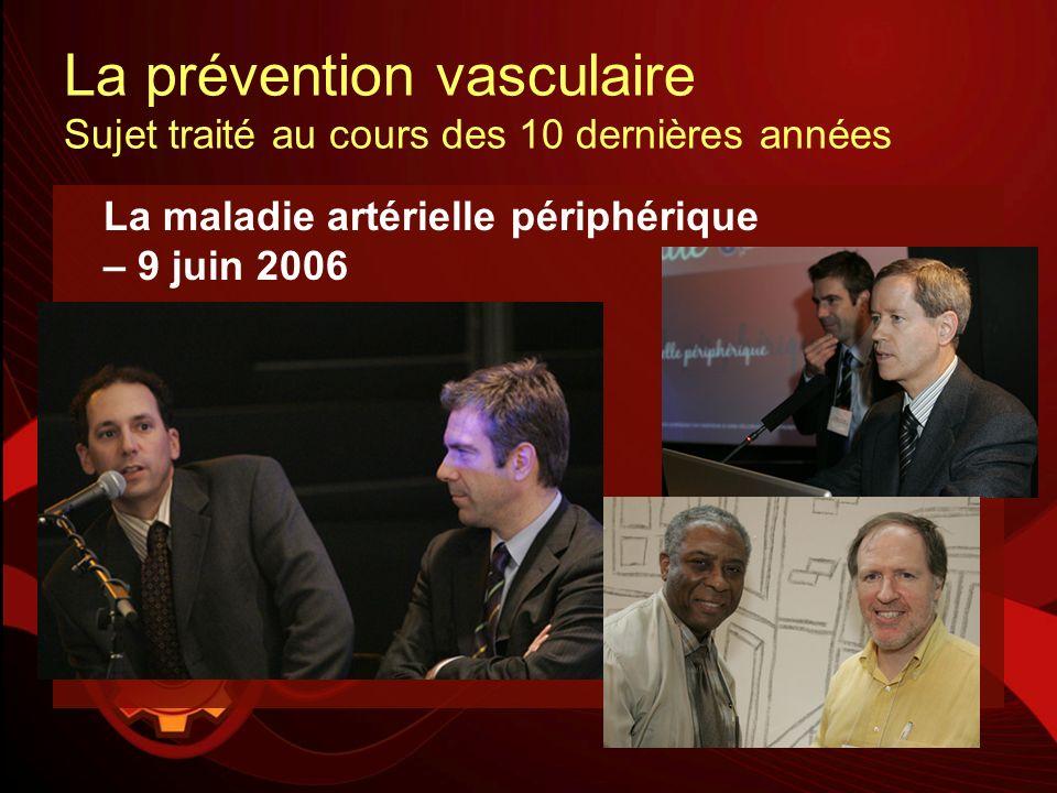 La prévention vasculaire Sujet traité au cours des 10 dernières années