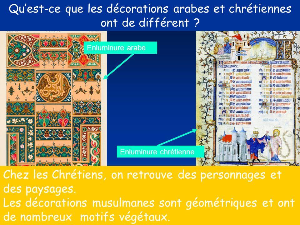 Qu'est-ce que les décorations arabes et chrétiennes ont de différent