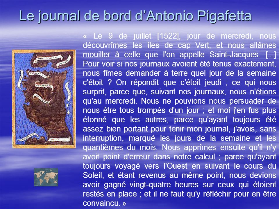 Le journal de bord d'Antonio Pigafetta