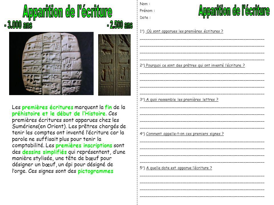 Apparition de l écriture Apparition de l écriture - 3.000 ans