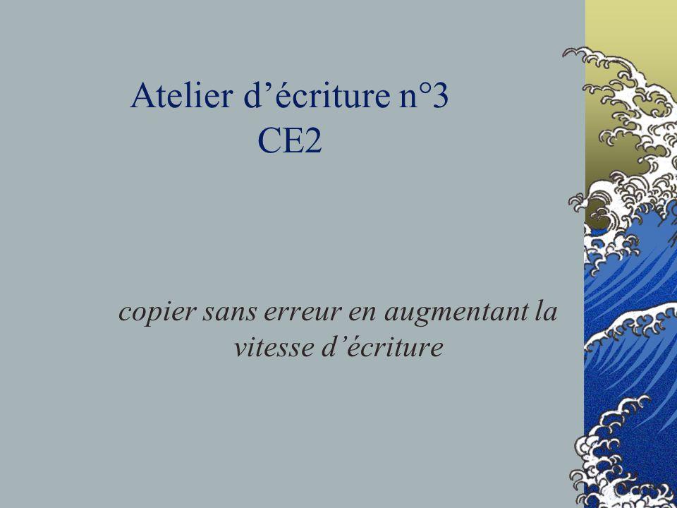 Atelier d'écriture n°3 CE2