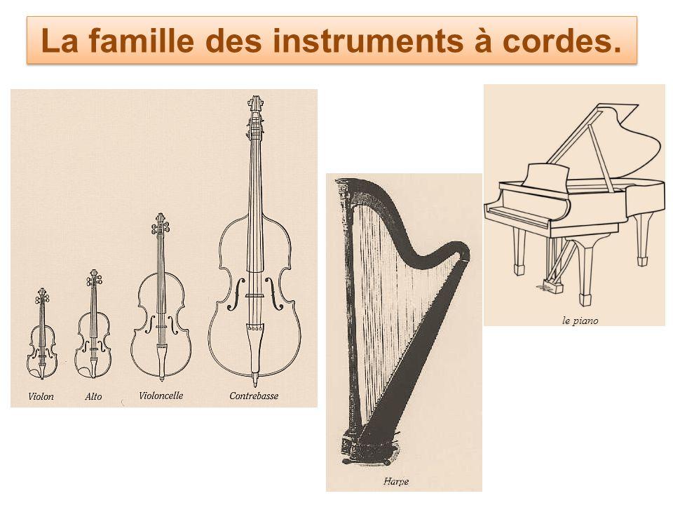 La famille des instruments à cordes.