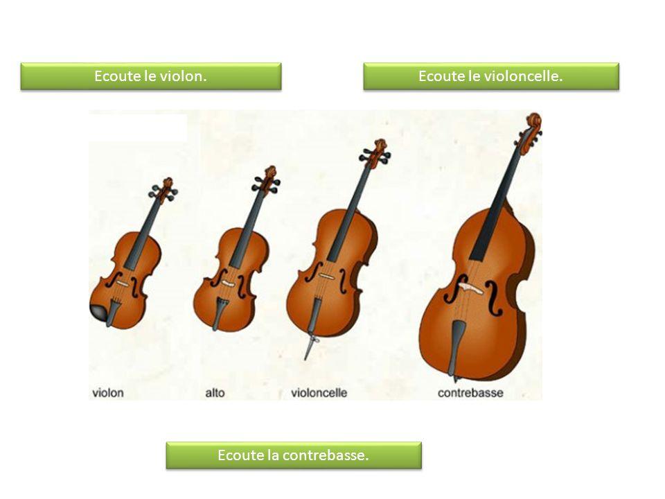 Ecoute le violon. Ecoute le violoncelle. Ecoute la contrebasse.