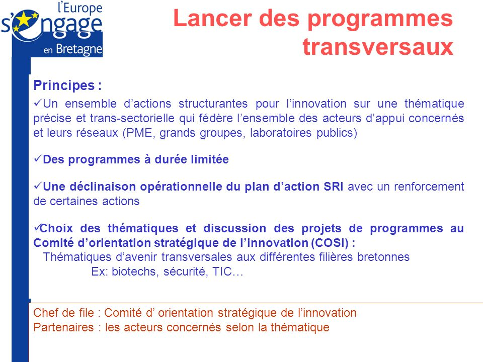 Lancer des programmes transversaux
