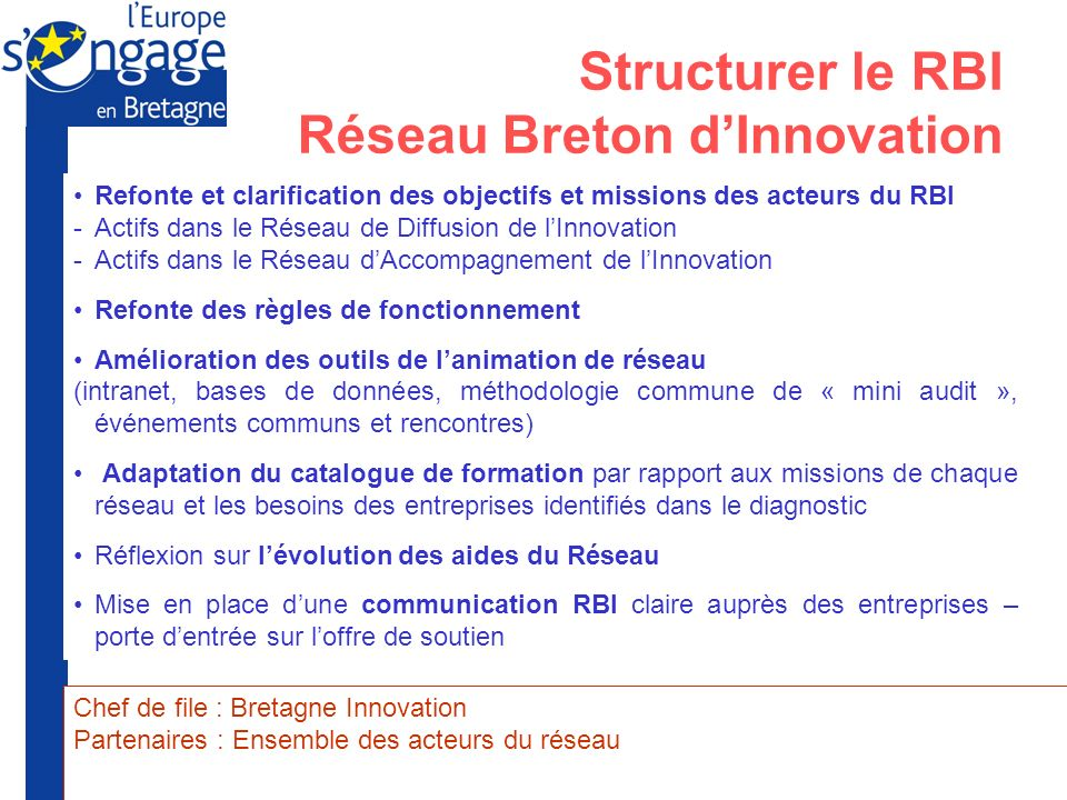 Structurer le RBI Réseau Breton d'Innovation