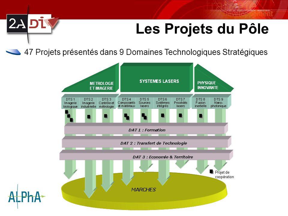 Les Projets du Pôle 47 Projets présentés dans 9 Domaines Technologiques Stratégiques.