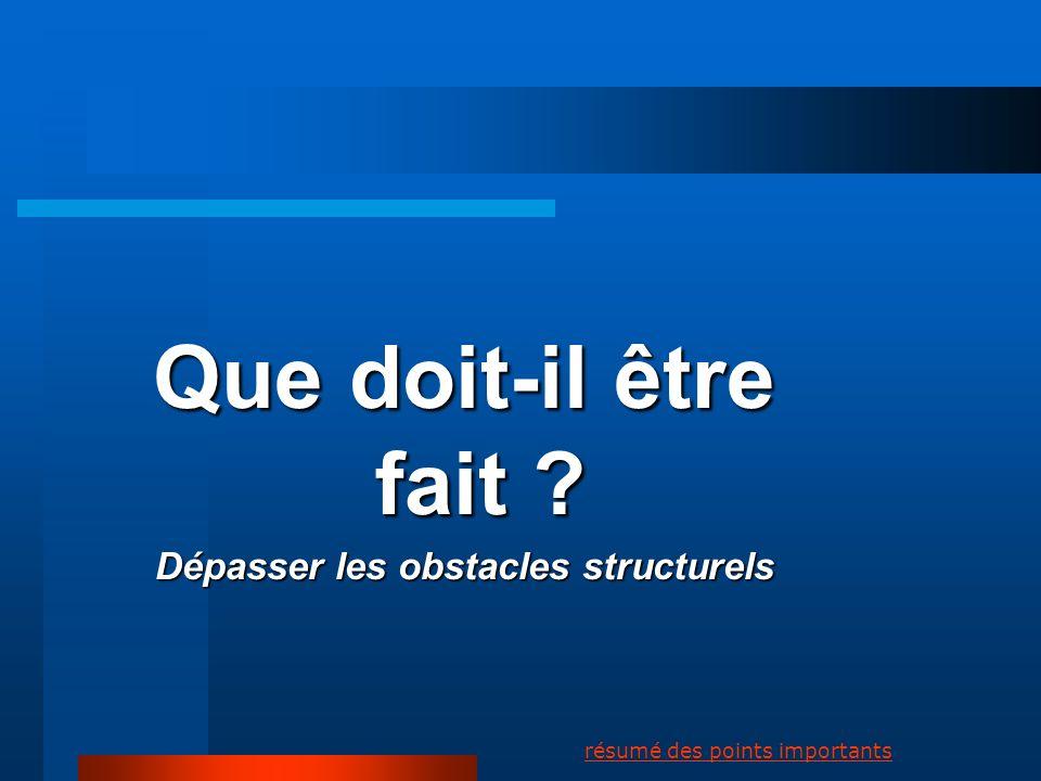 Dépasser les obstacles structurels