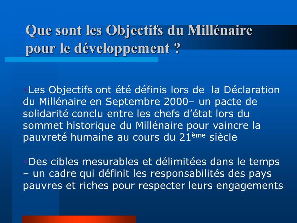 Que sont les Objectifs du Millénaire pour le développement