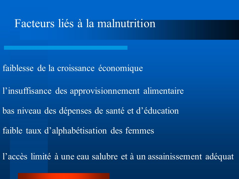 Facteurs liés à la malnutrition