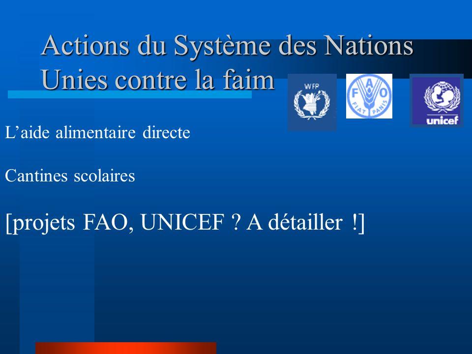 Actions du Système des Nations Unies contre la faim