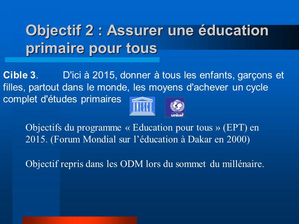 Objectif 2 : Assurer une éducation primaire pour tous