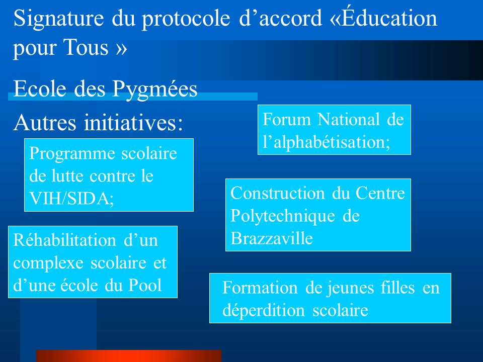 Signature du protocole d'accord «Éducation pour Tous »