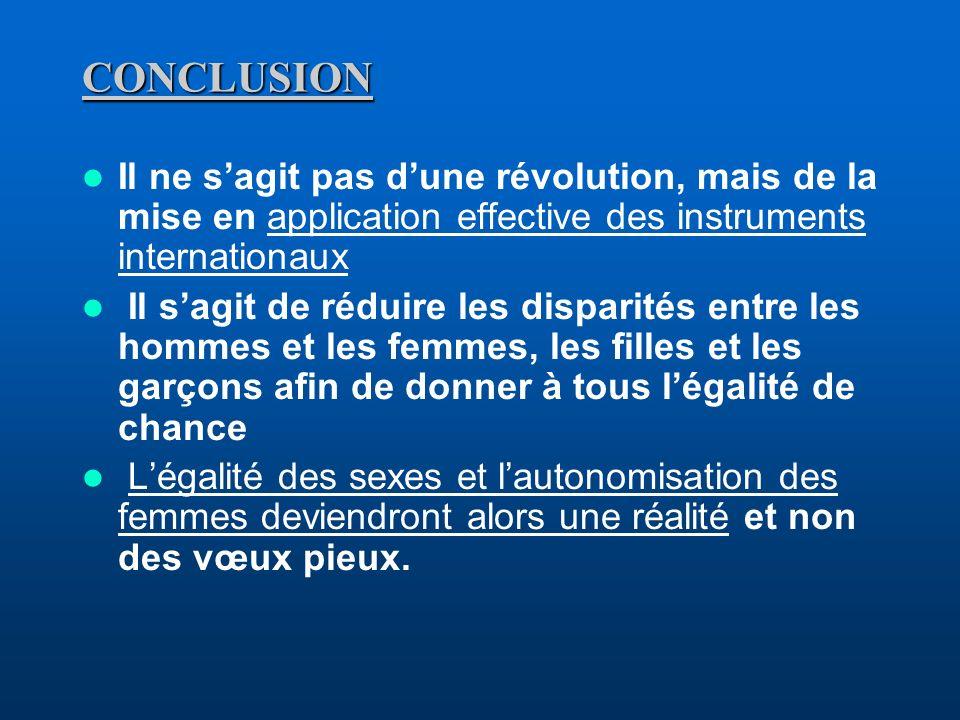 CONCLUSIONIl ne s'agit pas d'une révolution, mais de la mise en application effective des instruments internationaux.