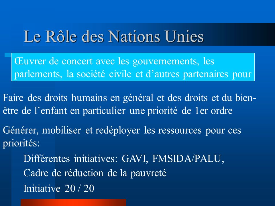 Le Rôle des Nations Unies
