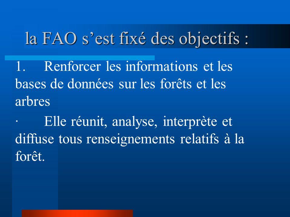 la FAO s'est fixé des objectifs :