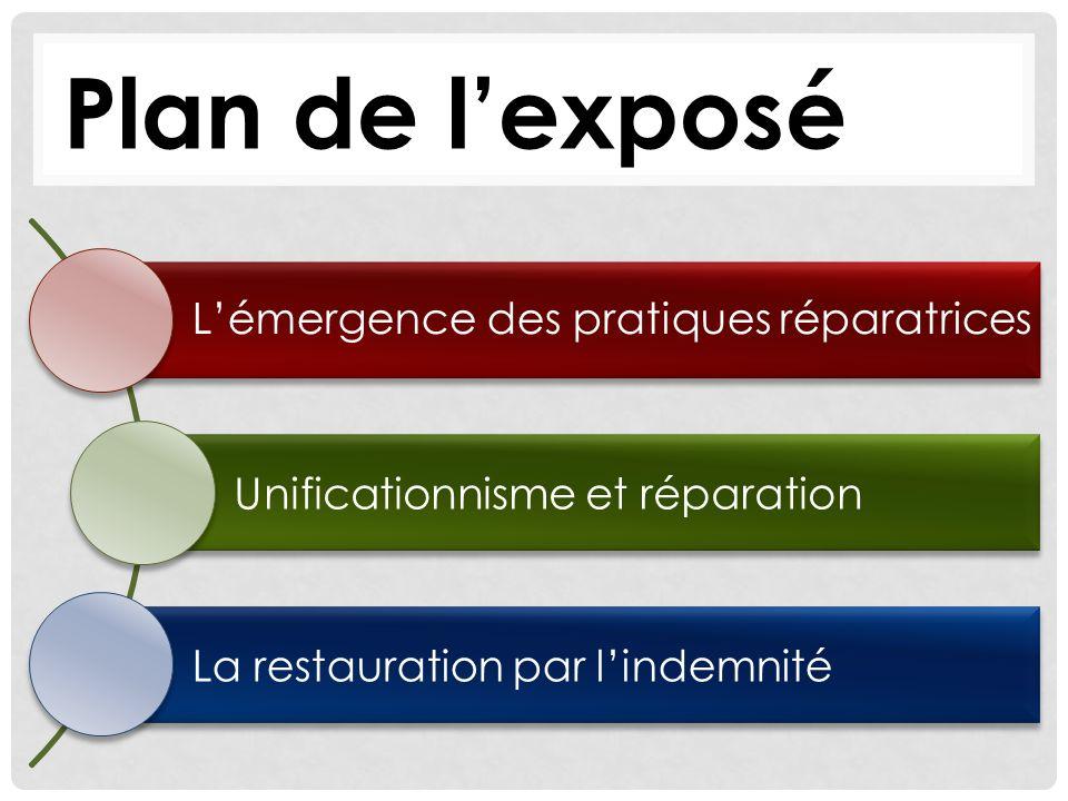 Plan de l'exposé L'émergence des pratiques réparatrices