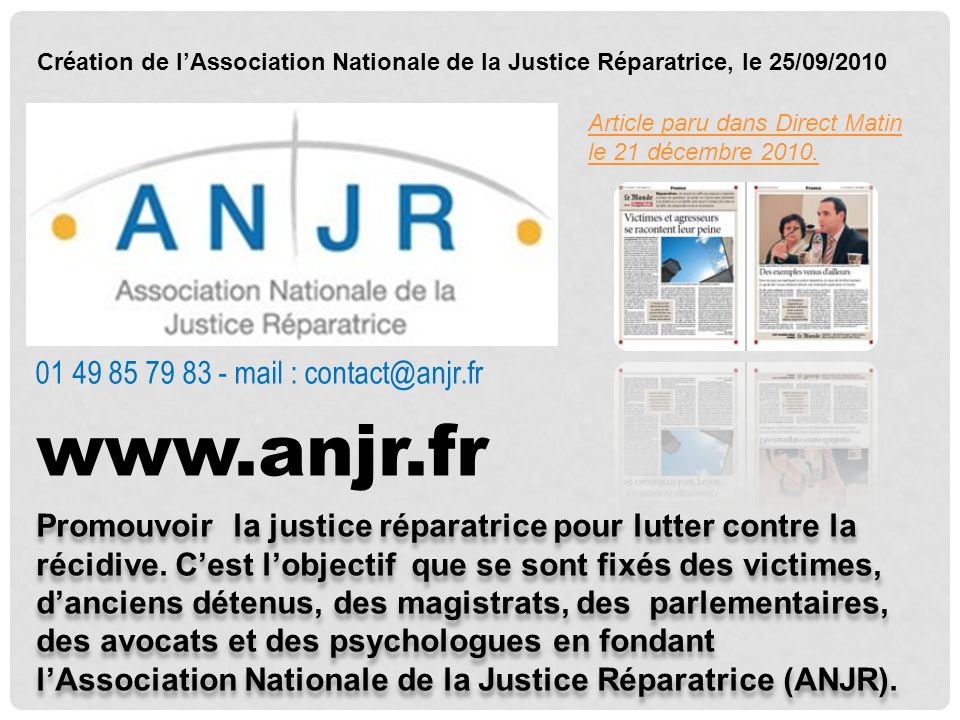 www.anjr.fr 01 49 85 79 83 - mail : contact@anjr.fr