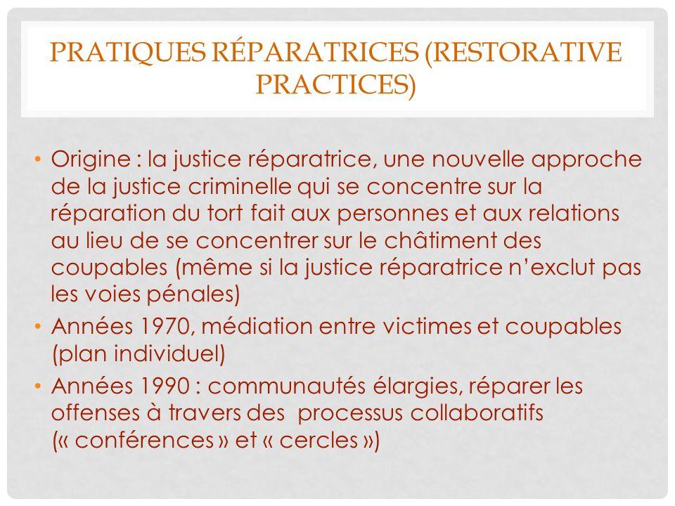 Pratiques réparatrices (restorative practices)