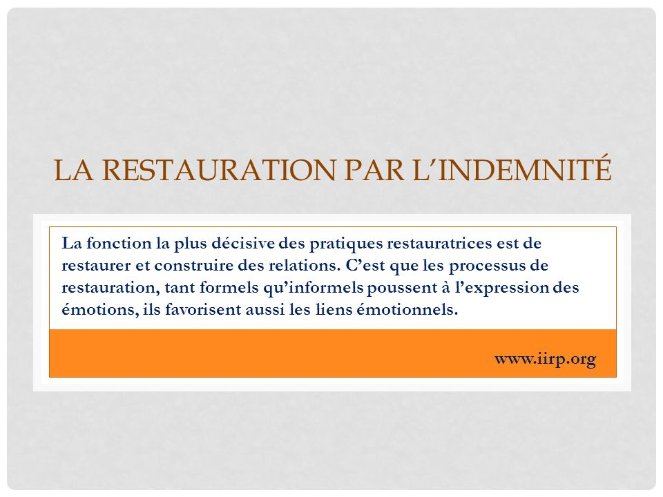 La restauration par l'indemnité