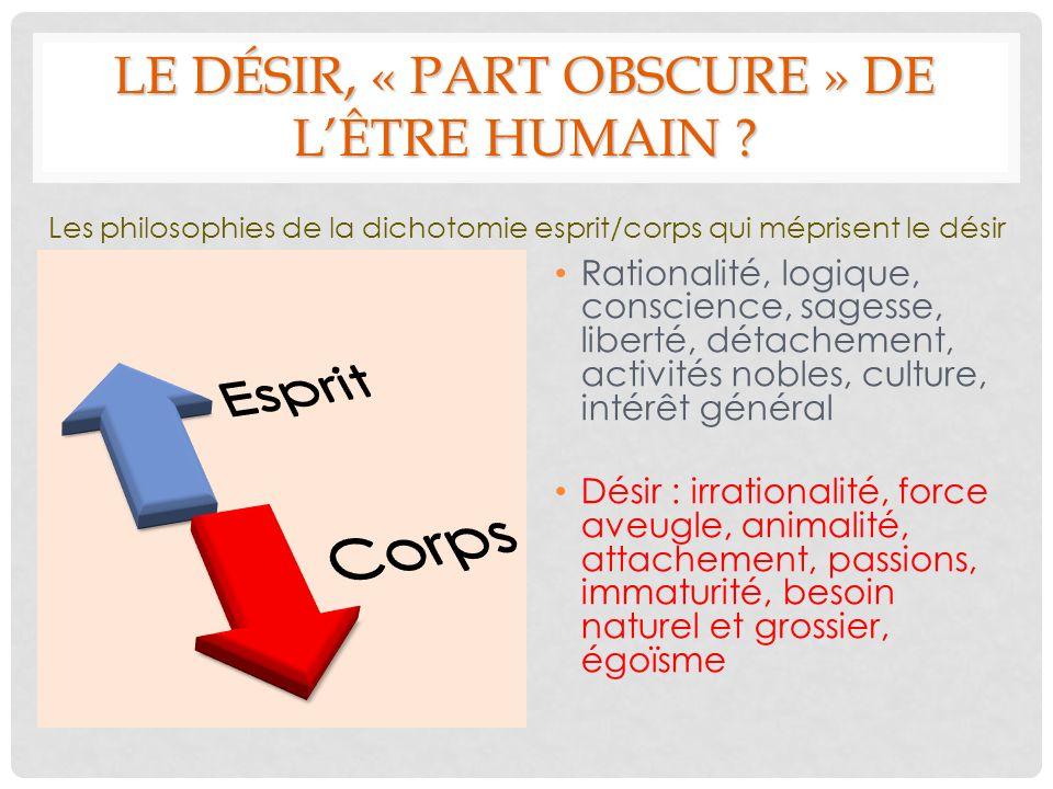 LE DÉSIR, « PART OBSCURE » DE L'ÊTRE HUMAIN