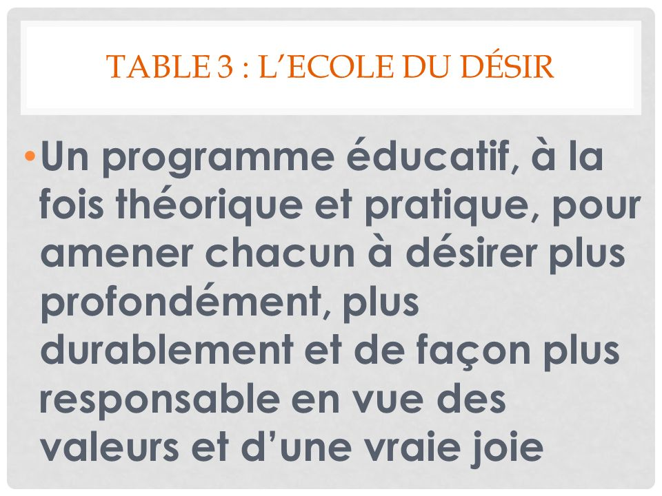 Table 3 : l'Ecole du désir