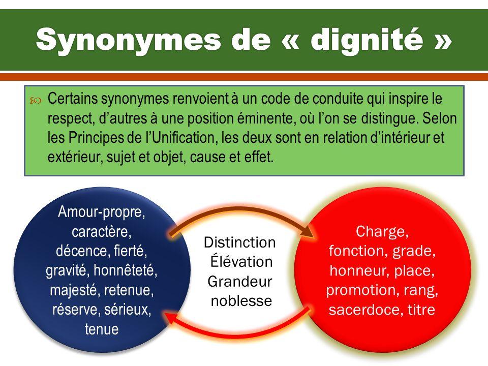 Synonymes de « dignité »