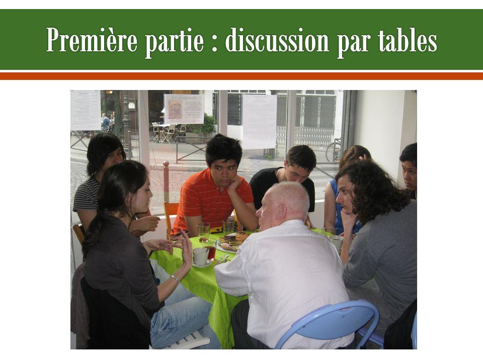 Première partie : discussion par tables