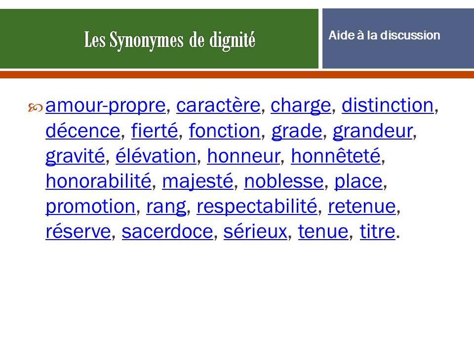 Les Synonymes de dignité