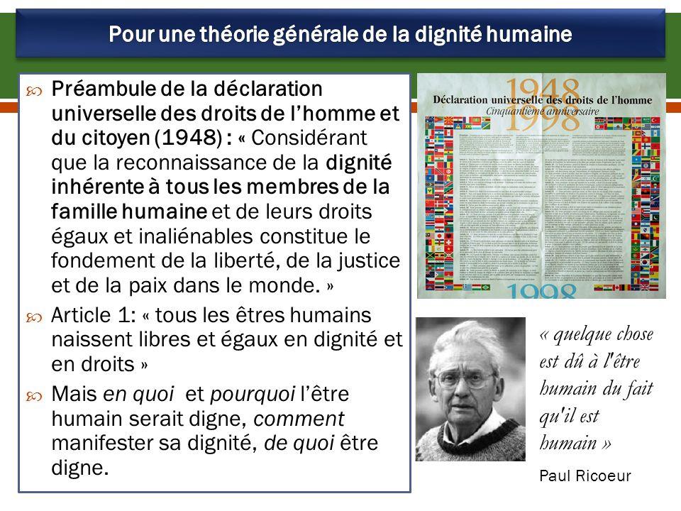 Pour une théorie générale de la dignité humaine