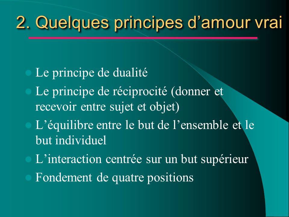 2. Quelques principes d'amour vrai