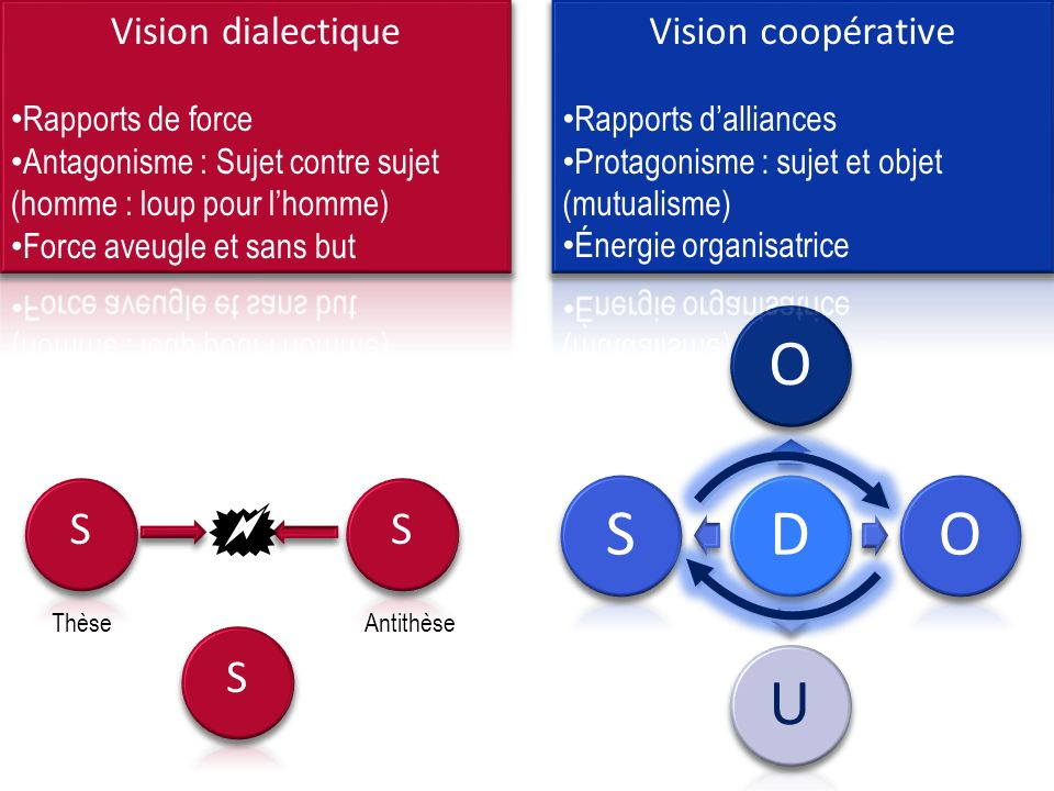  S S S Vision dialectique Vision coopérative Rapports de force