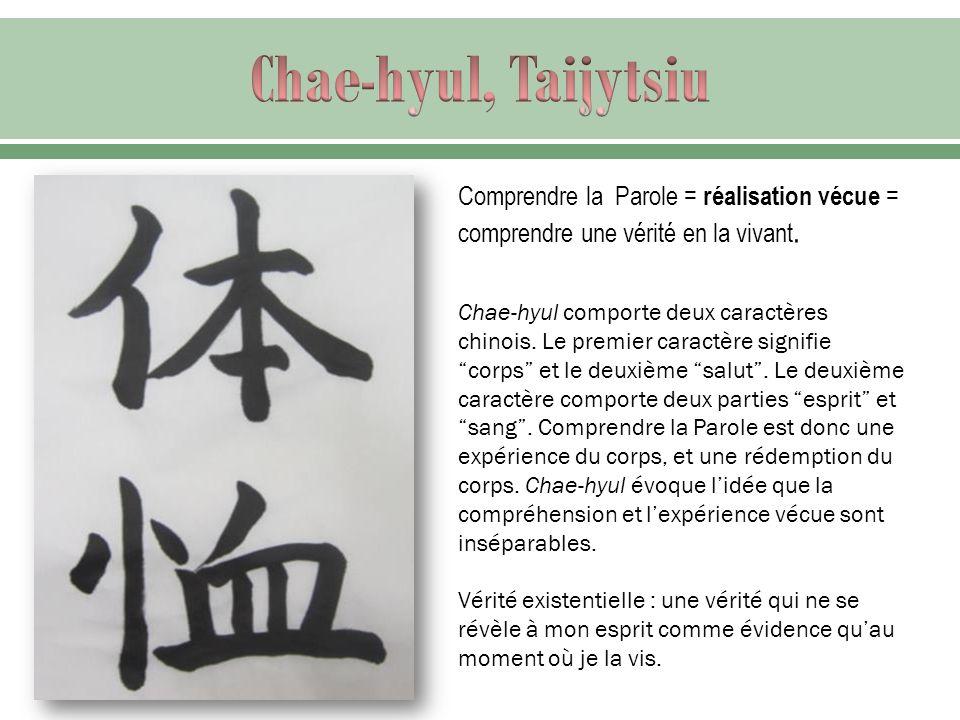 Chae-hyul, Taijytsiu Comprendre la Parole = réalisation vécue = comprendre une vérité en la vivant.