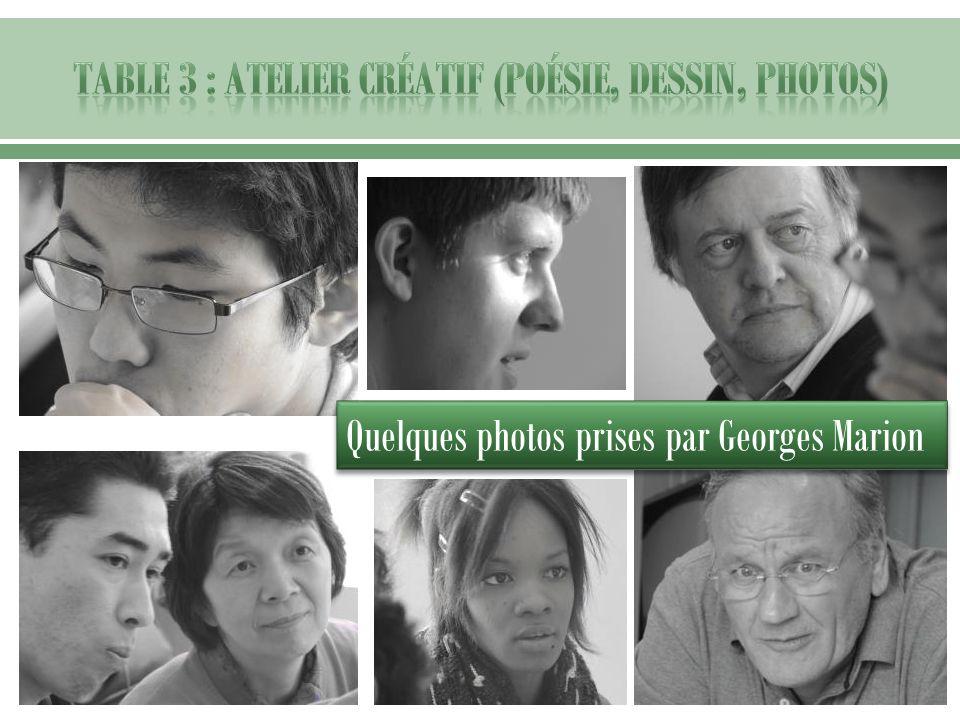 Table 3 : Atelier créatif (poésie, dessin, photos)