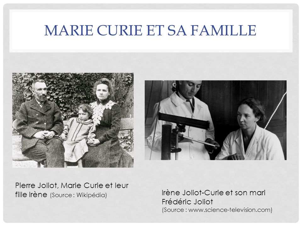 Marie Curie et sa famille