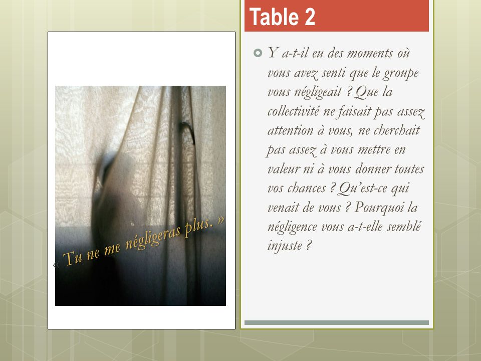 Table 2 « Tu ne me négligeras plus. »