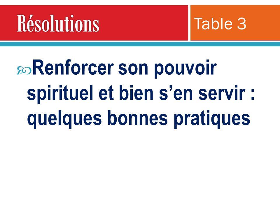 Résolutions Table 3 Renforcer son pouvoir spirituel et bien s'en servir : quelques bonnes pratiques