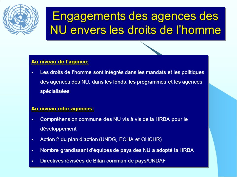 Engagements des agences des NU envers les droits de l'homme