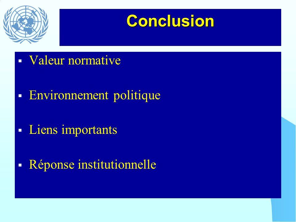 Conclusion Valeur normative Environnement politique Liens importants